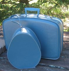 Retro Blue Luggage Set  //   Suitcase Set by larsoncollection, $55.00