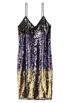 Sure, a sequin body-con dress could be considered stereotypical for New Year's Eve, but if you can't wear it then, when else are you supposed to bust out a metallic mini dress? Give in to the holiday with our roundup of shimmery slips, velvet wrap dresses, and more of our favorite party picks, here.  H&M Sequined Dress, $70; hm.com