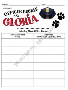 Just a quick little activity to compliment the CUTE story of Officer Buckle & Gloria. Help the kiddos find clues within the story that tell the reader more about Officer Buckle. Reading Skills, Teaching Reading, Reading School, Reading Resources, Classroom Resources, Classroom Ideas, Learning, Officer Buckle And Gloria, Third Grade Reading