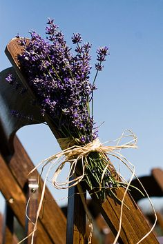 lavender bouquets tied to the chairs- for a vinyard wedding Our Wedding Day, Dream Wedding, Wedding Stuff, Church Wedding, Wedding Fun, Wedding Bouquets, Wedding Flowers, Wedding Centrepieces, Lavender Bouquet