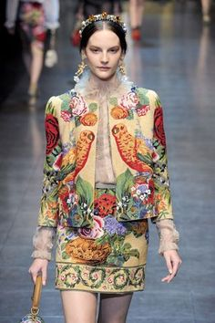 A visual feast of flora and fauna, at Dolce & Gabbana. needlepoint