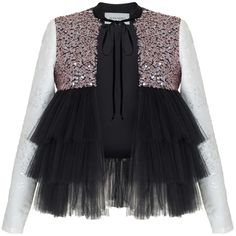 Rasario     Ruffle Tulle Sequin Jacket (18.328.740 IDR) ❤ liked on Polyvore featuring outerwear, jackets, tops, black, ruffle jacket, tulle jacket, crew jackets and sequin jacket
