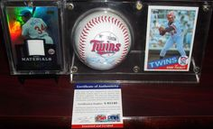 LOT of 3 KIRBY PUCKETT Signed Auto Baseball PSA 1985 Topps RC Game Used Relic