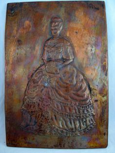 Vintage Embossed Hammered Copper Plaque Plate Victorian Lady Signed Figueroa picclick.com