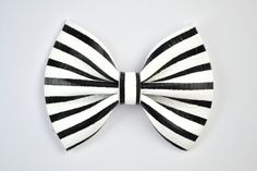 Black White Pinstripe Leather Bow Beautiful Adorable Halloween Fall Winter Clip for Newborn Baby Little Girl Child Adult Photo Prop Pictures