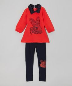 Take a look at this Red Rabbit Tunic & Black Leggings - Toddler & Girls by Dolce Liya on #zulily today!