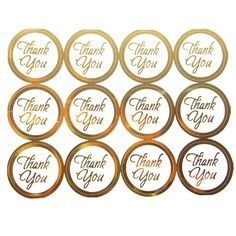 Thank You Print Seal Stickers, 1-inch, 100-pack