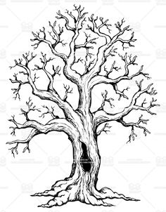 odd tree with roots drawing, tree trunk drawing, tree Tree Trunk Drawing, Oak Tree Drawings, Tree Sketches, Easy Drawings, Pencil Drawings, Roots Drawing, Oak Tree Tattoo, Picture Tree, Tree Illustration