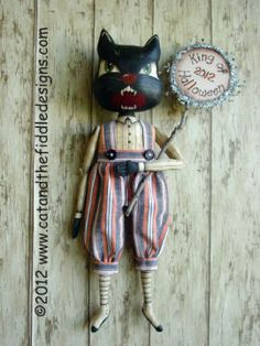 """King of Halloween Dapper 17"""" painted and stained cat with button jointed arms and legs. Cloth Doll Making Sewing Patterns by Gini Simpson Cat and the Fiddle Designs"""