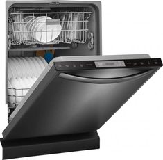 Well, I've already covered much of this, but this Frigidaire unit is fairly 'loaded', as far as features go. Extra Large capacity, 5 wash cycles (including pots/pans), heated drying, built-in self-cleaning food disposer, heated wash (heats water above the normal ~120 degrees, if selected), variable delayed start function, 5-level wash system, sound reduction package, mix of mechanical and electronic controls . . . Best Dishwasher, Black Dishwasher, Built In Dishwasher, Washing Machine Dimensions, Fully Integrated Dishwasher, Black Stainless Steel, Energy Star
