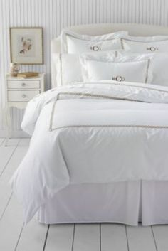 400-count Lands' End Five Star Hotel Embroidered Rope Duvet Cover or Sham from Lands' End
