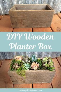 An easy diy wood planter box that can go indoor, outdoor, in the garden, or even. An easy diy wood Wooden Planter Boxes Diy, Outdoor Planter Boxes, Wood Planters, Wooden Diy, Indoor Window Planter, Indoor Succulent Planter, Wood Flower Box, Baby Shower Invitaciones, Diy Holz