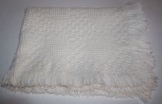 Solid Ivory Woven Jacquard HEARTS BABY boy or girl BLANKET Fringe Off White Weave Pattern #JacquardHeartBlanket