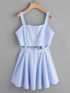 Vestido de rayas con una botonadura y abertura -Spanish SheIn(Sheinside)