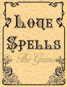 Love Spells Divider Page for Book of Shadows, Witchcraft, Wicca, like Charmed
