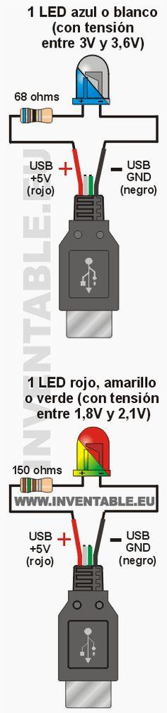 En este artículo se describe en modo detallado como conectar LEDs al USB con sus respectivas resistencias y con muchos ejemplos prácticos
