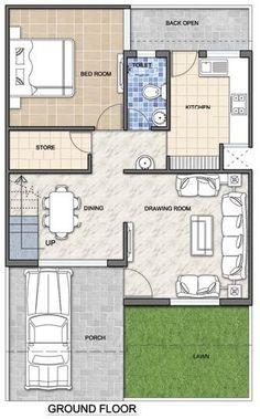 A Duplex house plan is for a single-family home that is built in two floors having one kitchen and dining. The duplex house plan gives a villa look and feel in small area. 2bhk House Plan, Model House Plan, Dream House Plans, Small House Plans, Duplex House Design, Design Your Dream House, Duplex Floor Plans, House Floor Plans, Best Small House Designs
