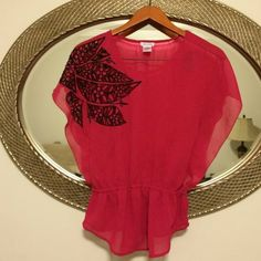 Pretty flowy shirt Light flowy material- dark pink color with black embroidery. Loose shirt with cinched waist. Great condition Tops