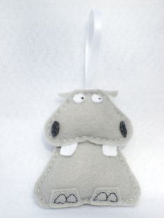 Felt Animal Ornament  Beauregard the Hippo by Squshies on Etsy, $15,00