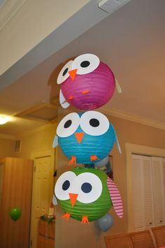paper lanterns turned into owls: