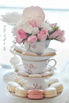 Bridal shower dessert display idea - vintage tea party bridal shower - tea cups with cookies, macaroons and flowers {Courtesy of Kara's Party Ideas} Bridal Shower Desserts, Tea Party Bridal Shower, Bridal Showers, Wedding Tea Parties, Afternoon Tea Wedding Reception, Elegant Bridal Shower, Tea Party Baby Shower, Brunch Wedding, Baby Showers