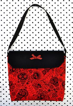 Red & Black Calaveras Sugar Skulls Flap Purse - a sweet Day of the Dead bag - SOLD