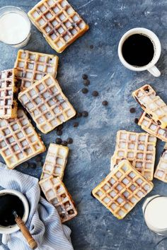 Glazed Chocolate Chip Yeast Waffles are perfect for all of your weekend breakfast/brunch plans. Make the batter the night before & enjoy the next morning! Savory Breakfast, Breakfast Dishes, Breakfast Recipes, Dessert Recipes, Brunch Recipes, Breakfast Ideas, Breakfast Pastries, Churros, Waffle Ingredients