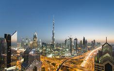 Download wallpapers Burj Khalifa, 4k, sunset, modern buildings, UAE, skyscrapers, Dubai