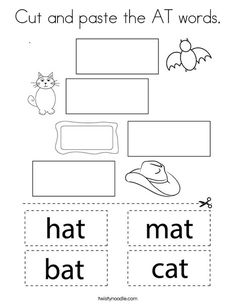Cut and paste the AT words Coloring Page - Twisty Noodle Kindergarten Writing Activities, School Age Activities, Free Kindergarten Worksheets, Teacher Education, Elementary Education, Printable Preschool Worksheets, Phonics Worksheets, Two Letter Words, Cut And Paste Worksheets