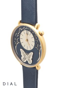 The elegant Butterfly Watch by Dial and paper illustrator Sarah Dennis is an intricately designed timepiece in rose gold and gold with raised butterfly wings! This captivating timepiece is a beautiful accessory that pairs perfectly with any outfit.