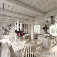 Farmhouse. Living room and Kitchen. www.usawicka.com
