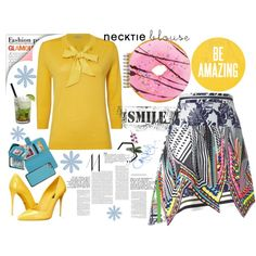 How To Wear The yellow neck tie blouses Outfit Idea 2017 - Fashion Trends Ready To Wear For Plus Size, Curvy Women Over 20, 30, 40, 50