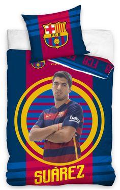Pościel na łóżko dziecięce w kolorze granatowym z zawodnikiem z FCB