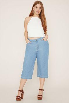 FOREVER 21+ plus size denim culottes