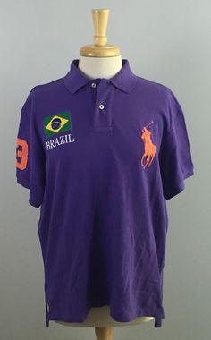 Polo Ralph Lauren Mens Large Purple BRAZIL Custom Fit Polo Shirt Short Sleeve #PoloRalphLauren #PoloRugby