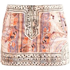 Isabel Marant Jinny paisley studded mini skirt ($886) ❤ liked on Polyvore