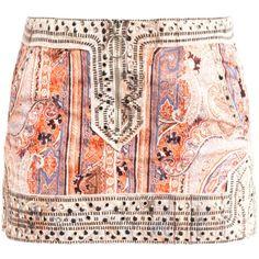 Isabel Marant Jinny paisley studded mini skirt (£290) ❤ liked on Polyvore featuring skirts, mini skirts, bottoms, saias, faldas, short red skirt, red skirt, paisley skirt, zipper mini skirt and zipper skirt