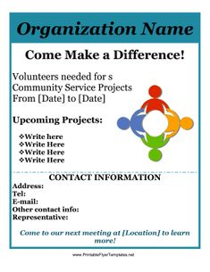 reach out to your community and recruit volunteers for service learning projects with this free