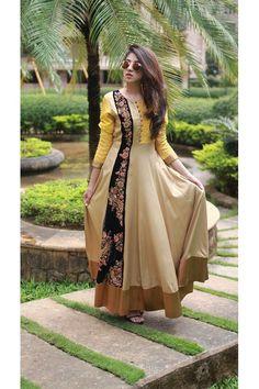Bollywood Replica - Party Wear Beige & Yellow Silk Kurti  - Ns-L-8