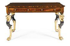 Una mesa central de bronce con incrustaciones de palo de rosa Regency-parcela dorada   mucho   Sotheby