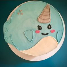 Narwhal Cake iced in buttercream Narwal-Kuchen in Buttercreme gefroren 9th Birthday Parties, 8th Birthday, Birthday Party Decorations, Birthday Gifts, Birthday Ideas, Birthday Cakes, Cake Templates, Eat This, Cute Cakes