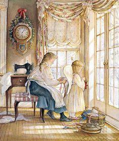 """Patient Angel"" by Trisha Romance Trisha Romance, Romance Art, Canadian Painters, Canadian Artists, Illustration Noel, Children's Book Illustration, Vintage Christmas Cards, Christmas Art, Christmas Pageant"