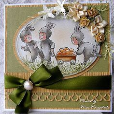 Three little bunnies pulling their wagon of eggs.Words are all sold separately They are  made by Art Impressions. All can be found in my ebay store  & Can be purchased in my ebay Store Pat's Rubber Stamps & Scrapbooks, click on the picture to see it, or call me 423-357-4334 with order, or come by 1327 Glenmar Ave. Mt Carmel, TN 37645, Pat's Rubber Stamps & Scrapbook supplies 423-357-4334. We take PayPal. You get free shipping with the phone orders of $30.00 or more. Use my search engine to…