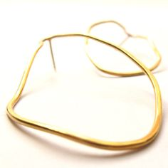 Gold earrings Oval shape Gold plated sterling por Gioiellibyliat, $69.00