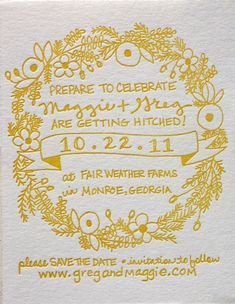 Love this yellow wedding save the date card! Invitation Design, Invitation Cards, Party Invitations, Invites, Invitation Ideas, Yellow Wedding Invitations, Wedding Stationary, Handwritten Wedding Invitations, Letterpress Invitations
