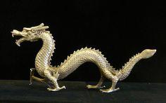 Chinese Silver Color Dragon Fengshui Decor Figure cs690-9small #Asian  650-522-9888 goldenlotusinc@yahoo.com