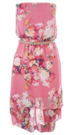 Flowery strapless pink dress