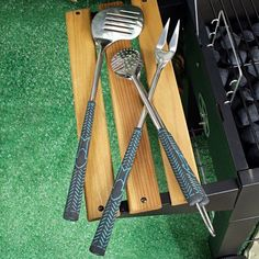 BBQ Grill Tools  4 Pieces Stainless Steel Deluxe Heavy Duty Barbecue Set Grill Accessories with Grill Tong Grilling Fork 3 in 1 Spatula and Silicone Basting Brush  NonSlip Handles ** Check out this great product.
