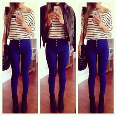 Stripes, dark blue high waisted jeans, black booties, and leather jacket. Perfect fall outfit.
