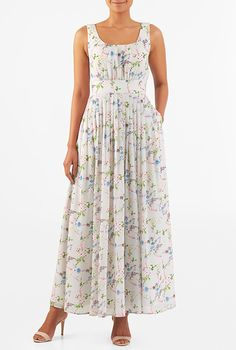 I <3 this Floral print pleated georgette maxi dress from eShakti